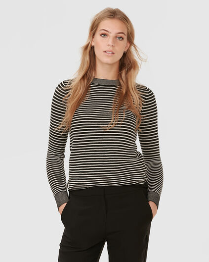 PULL STRIPE COL-NECK FEMME Gris clair