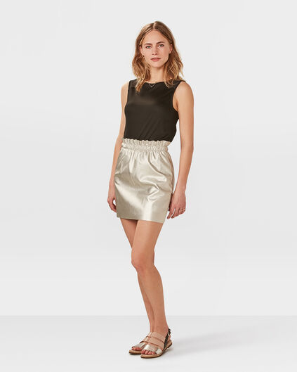 JUPE LEATHER LOOK FEMME Argent