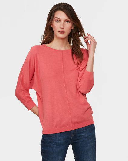 PULL OVERSIZED KNIT FEMME Rose corail