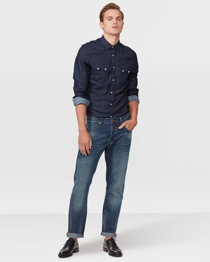 JEANS RELAXED TAPERED HOMME Bleu foncé