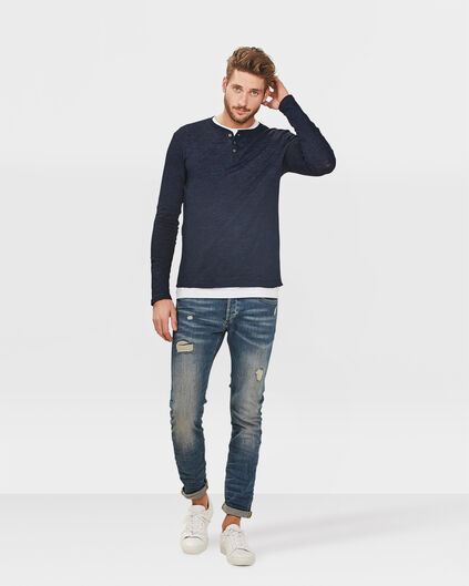 JEANS SKINNY TAPERED REPAIRED SUPER STRETCH HOMME Bleu eclair
