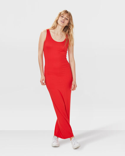 ROBE MAXI JERSEY FEMME Rouge
