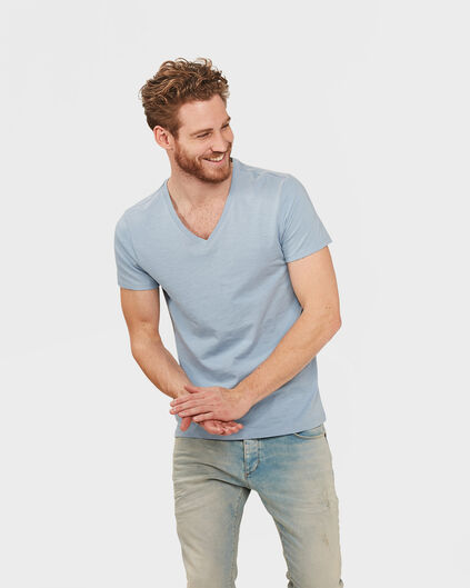 T-SHIRT ORGANIC COTTON V-NECK HOMME Bleu pastel