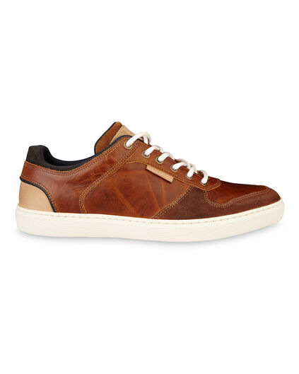 TENNIS REAL LEATHER HOMME Cognac