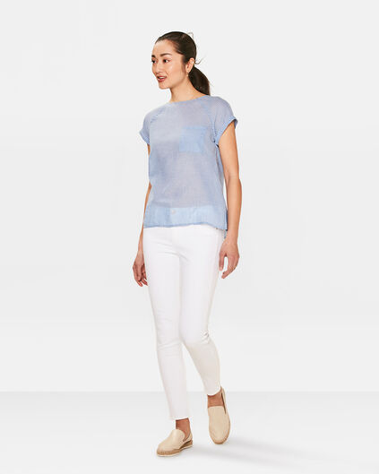 JEANS SKINNY FIT CROPPED FEMME Blanc