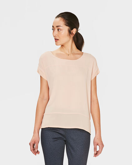 TOP CONTRAST FEMME Rose clair