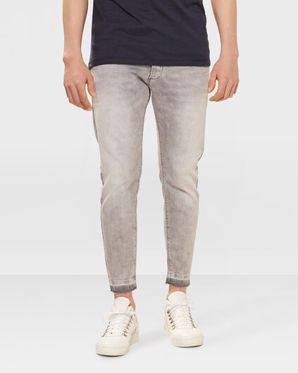 JEANS SKINNY CROPPED TAPERED SUPER STRETCH HOMME Gris clair