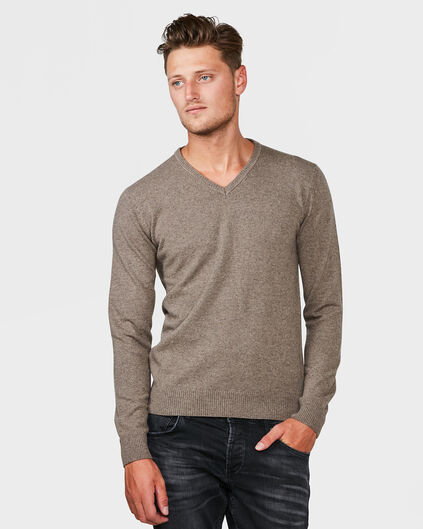 PULL LAMBSWOOL V-NECK HOMME Brun clair