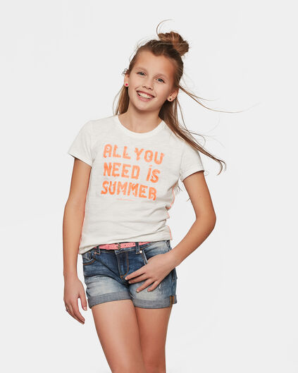 T-SHIRT GLITTER TEXT FILLE Blanc cassé