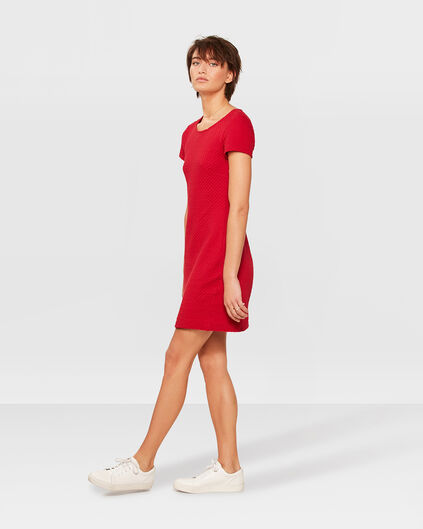 ROBE JERSEY STRUCTURE FEMME Rouge