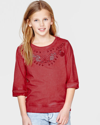 SWEAT-SHIRT STRUCTURED FILLE Rouge