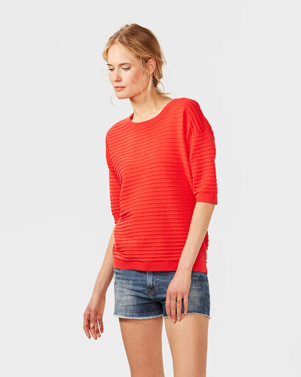 TOP BOXY FIT RIB FEMME Rouge