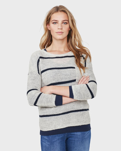 PULL STRIPED KNIT FEMME Gris