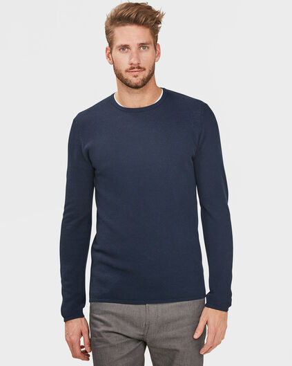 PULL STRUCTURE R-NECK HOMME Bleu marine