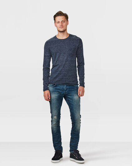 JEANS MID RISE SLIM TAPERED STRETCH DAMAGED HOMME Bleu