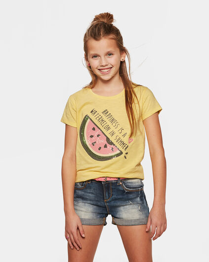 T-SHIRT SEQUIN APPLICATION FILLE Jaune clair