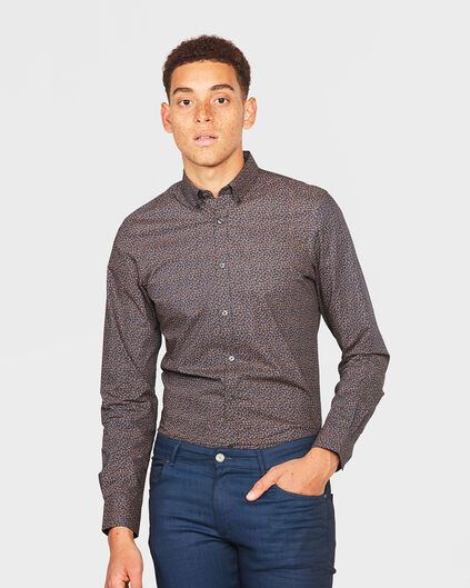CHEMISE SLIM FIT GRAPHIC PRINT HOMME Brun rouille