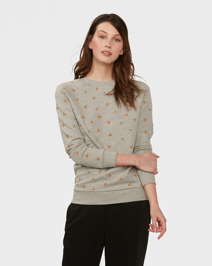 SWEAT-SHIRT BIRD PRINT FEMME Gris clair