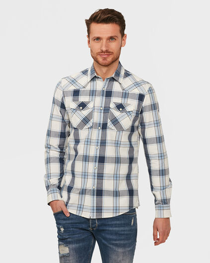CHEMISE RELAXED FIT CHECKED HOMME Bleu