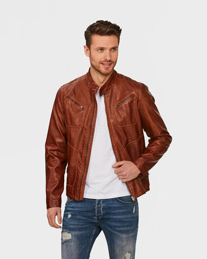 BLOUSON DE MOTARD LEATHER LOOK HOMME Cognac