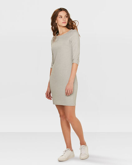 ROBE JERSEY STRUCTURE FEMME Gris clair
