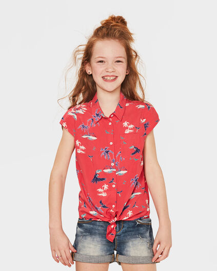 CHEMISIER TROPICAL PRINT FILLE Rouge