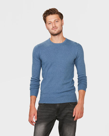 PULL STRUCTURE R-NECK HOMME Bleu eclair
