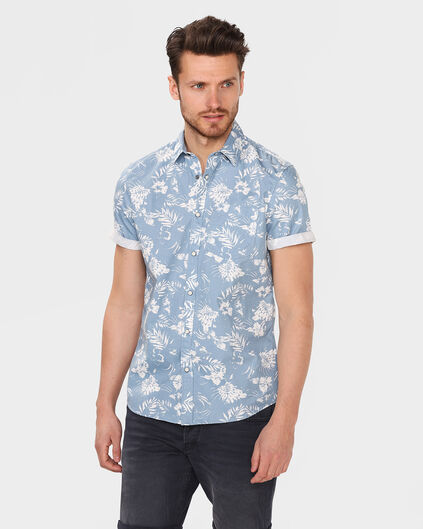 CHEMISE RELAXED FIT TROPICAL PRINT HOMME Bleu eclair