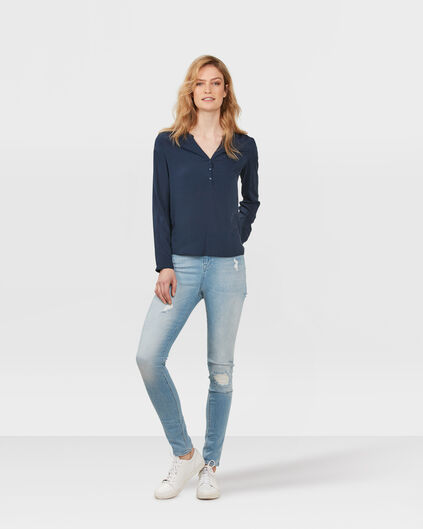 JEANS HIGH RISE SKINNY DESTROYED FEMME Bleu eclair