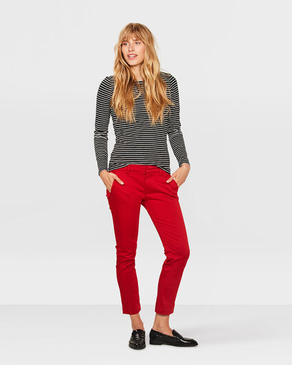 CHINO SLIM CROPPED FEMME Rouge