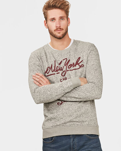 SWEAT-SHIRT TEXT APPLICATION HOMME Gris