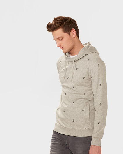 SWEAT-SHIRT PRINT HOODED HOMME Gris clair