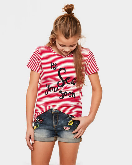 T-SHIRT STRIPE TEXT FILLE Rouge