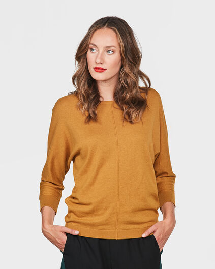 PULL OVERSIZED KNIT FEMME Jaune moutarde