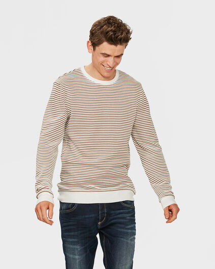PULL STRUCTURE R-NECK HOMME Brun