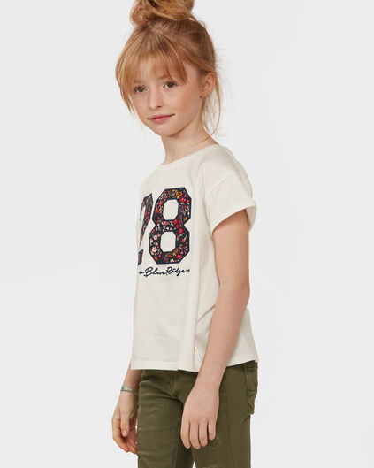 T-SHIRT FLOWER NUMBER FILLE Blanc cassé