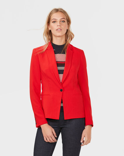 BLAZER REGULAR FIT JERSEY FEMME Rouge