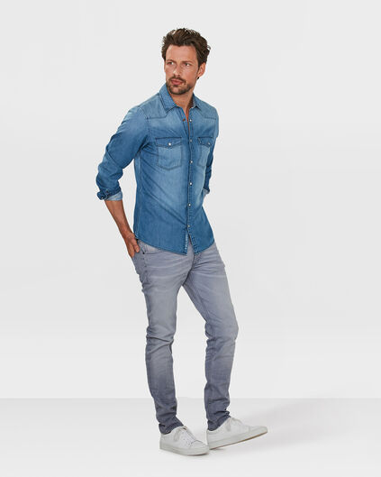 PANTALON SKINNY TAPERED STRETCH HOMME Gris clair