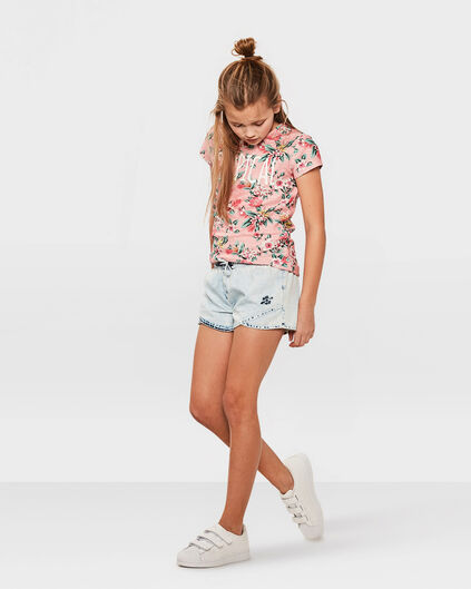 SHORT SUMMER WASH DENIM FILLE Bleu eclair