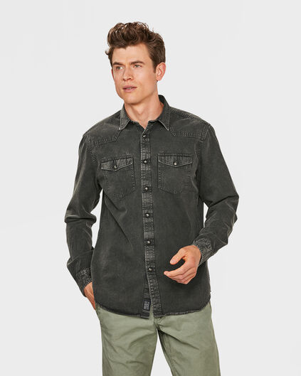 CHEMISE RELAXED FIT DENIM HOMME Gris