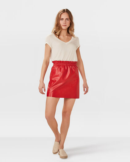 JUPE LEATHER LOOK FEMME Rouge vif