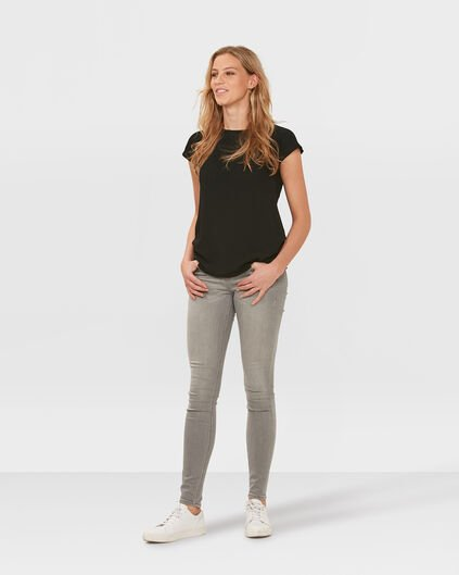 JEANS MID RISE SKINNY FEMME Gris