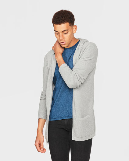 GILET EXTRA LONG OPEN FRONT HOMME Gris