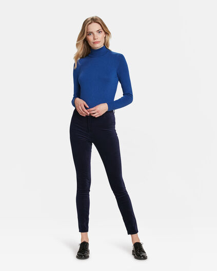 JEANS HIGH RISE SUPER SKINNY HIGH STRETCH VELVET FEMME Bleu foncé