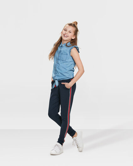 PANTALON SWEAT STRIPE SKINNY FIT FILLE Bleu foncé