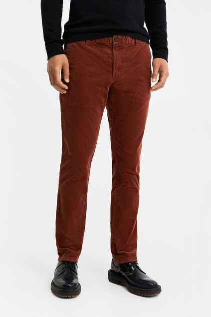 Chino slim fit de velours côtelé homme Brun rouille