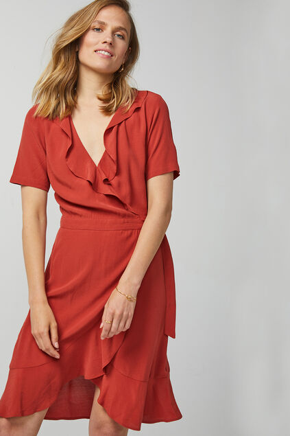 Robe-portefeuille femme Rouge