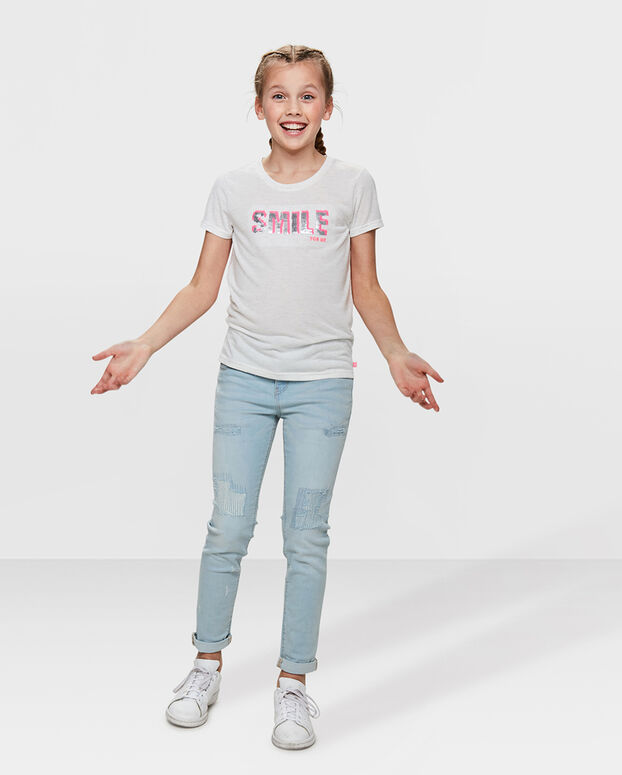 T-SHIRT FLIP SEQUINS SMILE PRINT FILLE Blanc