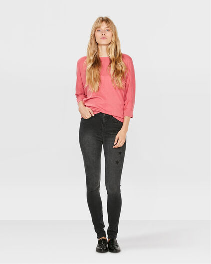 JEANS HIGH RISE EMBROIDERY SKINNY FEMME Noir