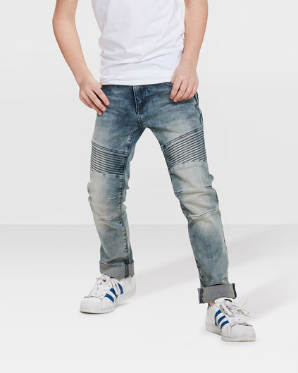 JEANS SKINNY POWER STRETCH BIKER GARÇON Bleu